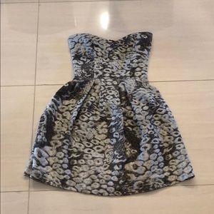 Short, strapless fit/flare,  leopard print dress